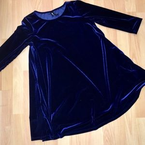 Blue Velvet Stretchy Tunic Top Size M